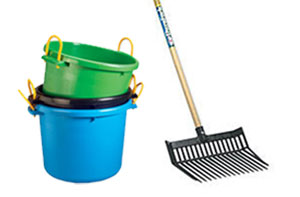 Muck-bucket-and-pitch-fork-