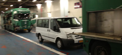 Our caravan on the ferry.
