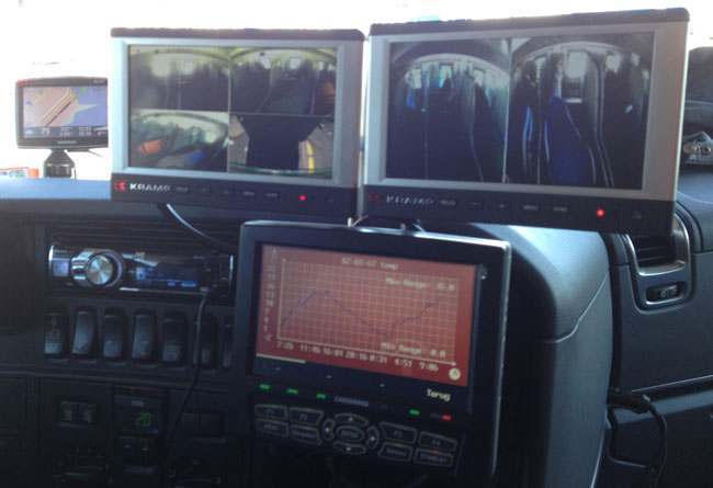 Serious dashboard display: Cameras for truck and trailer, temperature for truck and trailer, gps, etc.