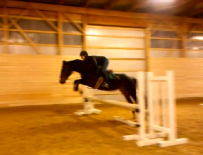 "Jumping 2'6"" at the end of a grid, winter 2012/2013"
