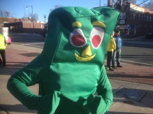 Gumby Running the Manchester Road Race